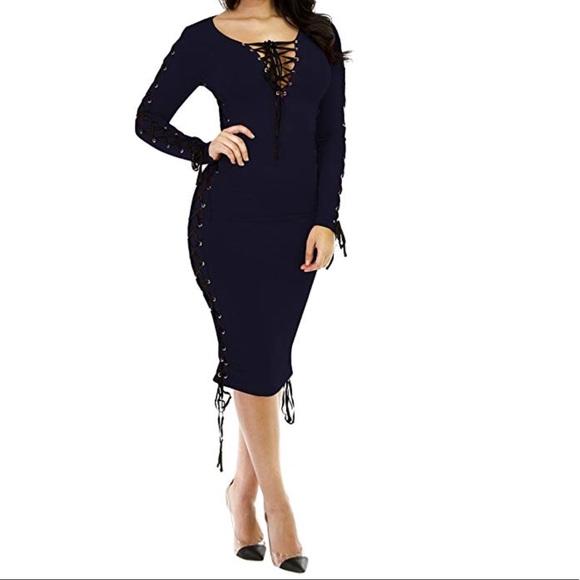 f05a134592d30 Navy Blue Lace Up V-Neck Midi Bodycon Dress